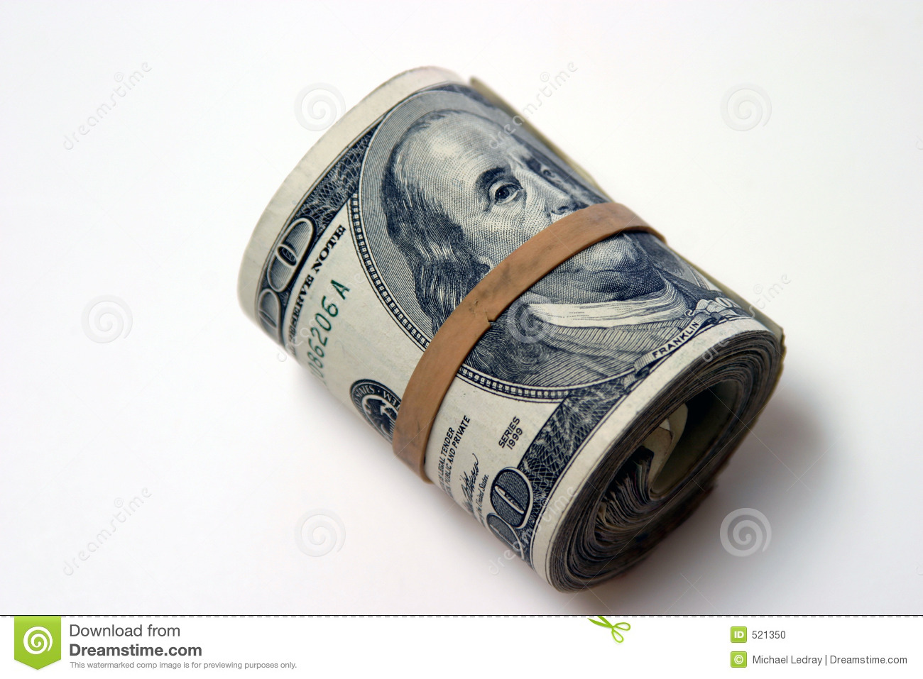 Bank Roll Isolated On White Stock Photo Image 521350