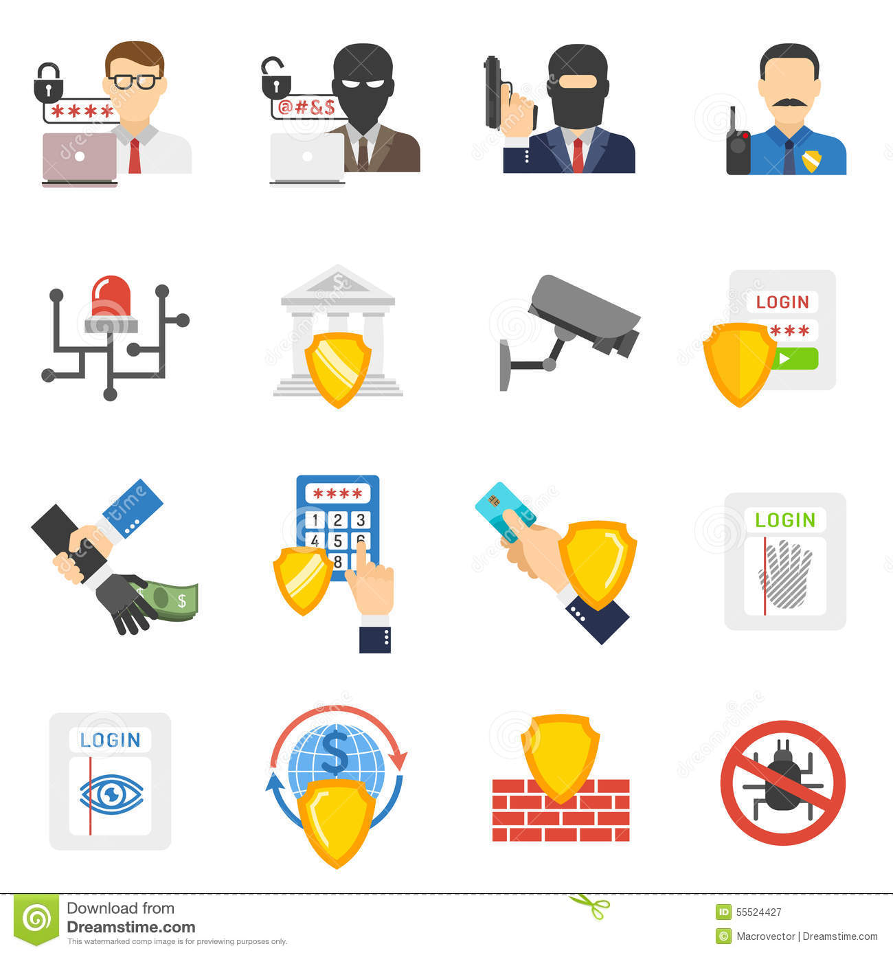 Bank Security Flat Icons Set Stock Vector Image 55524427