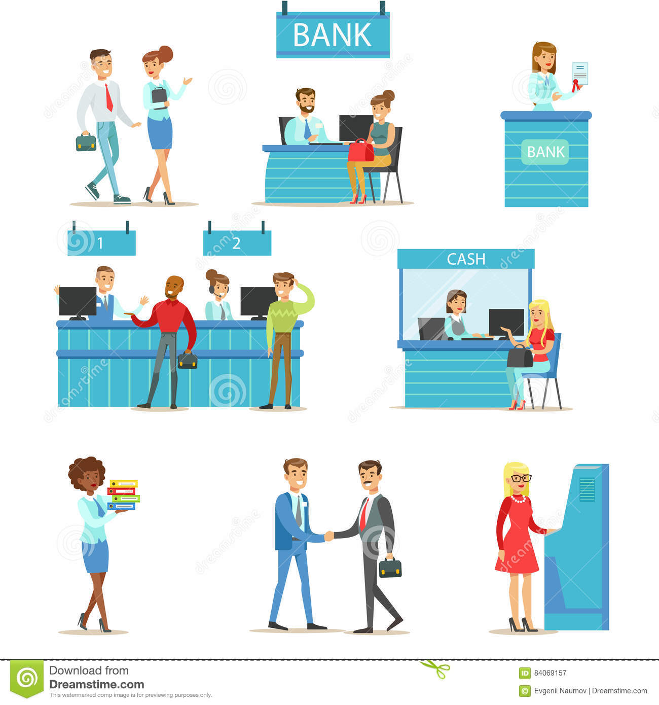 Bank Service Professionals And Clients Different Financial Affairs