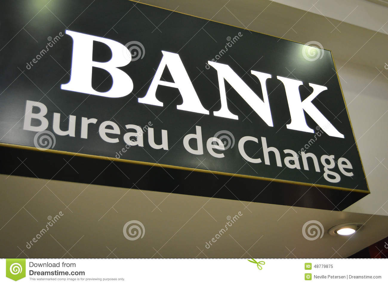 bank sign bureau de change stock photo image 48779875. Black Bedroom Furniture Sets. Home Design Ideas
