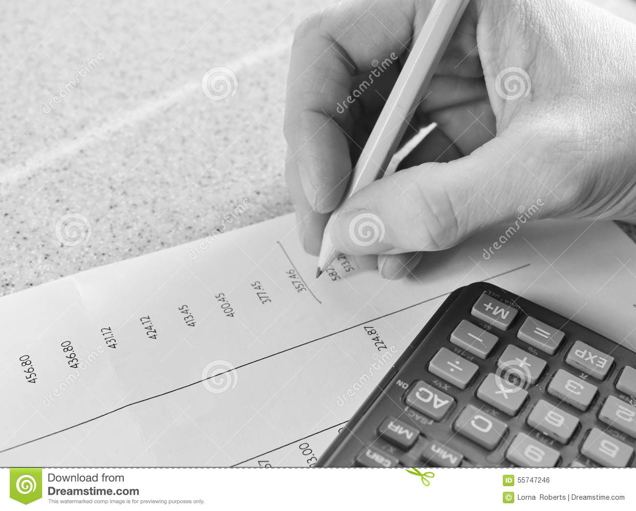 maths tax Bank statement with pencil and calculator