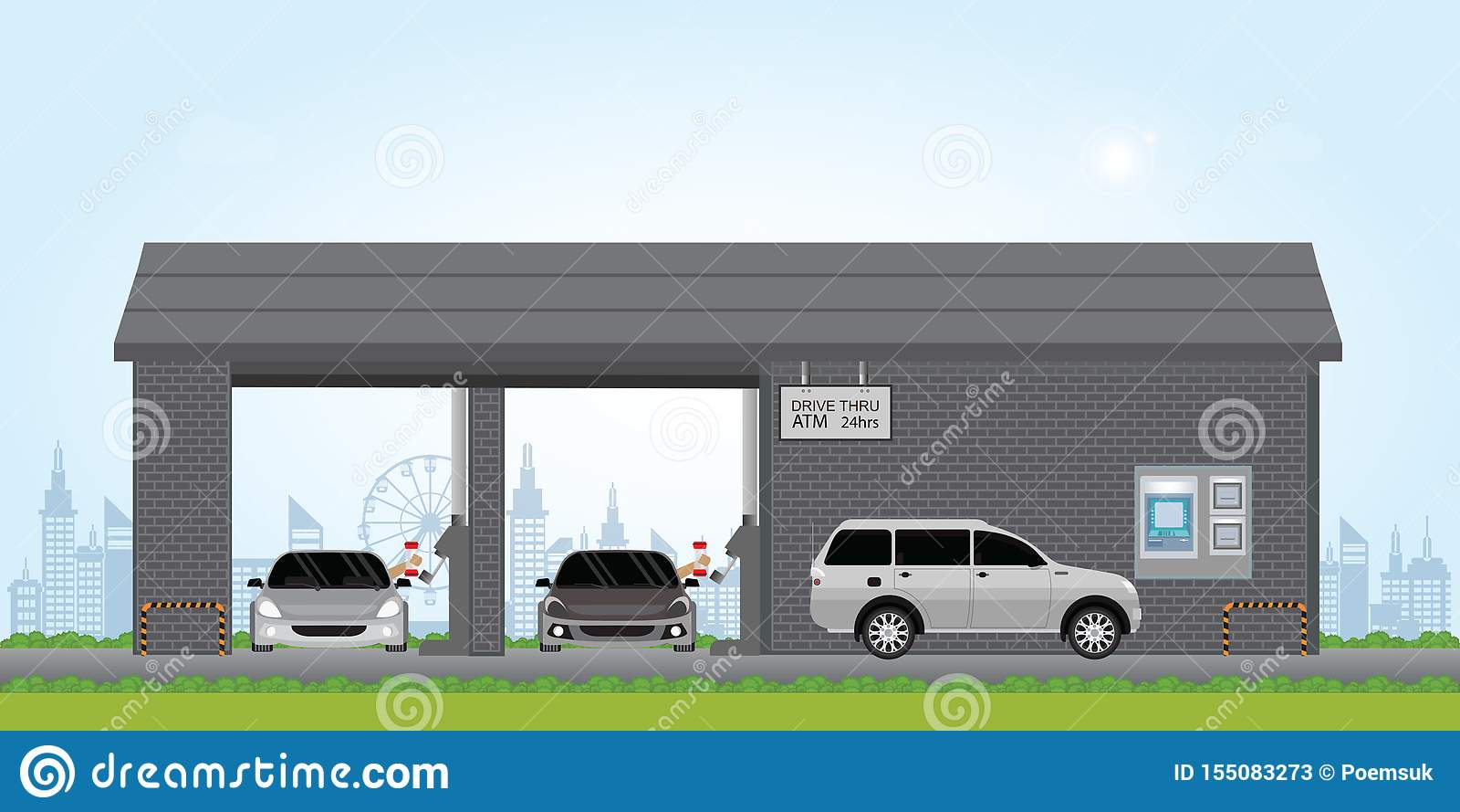 Toyota Drive Thru >> Bank Teller Drive Through Lane Stock Vector Illustration