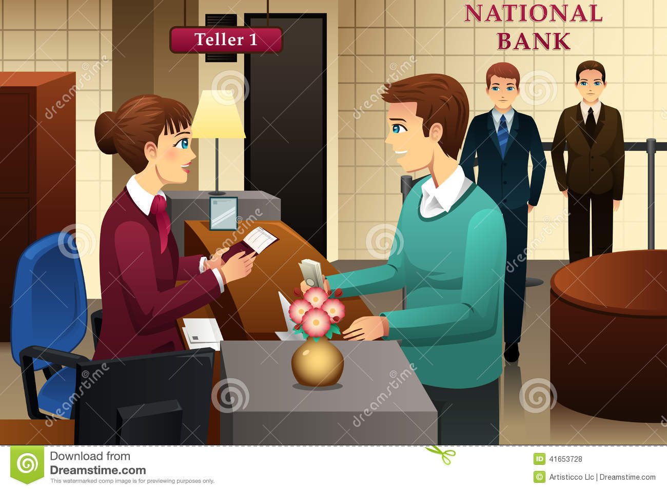 bank teller servicing a customer in the bank stock vector illustration of standing male 41653728. Black Bedroom Furniture Sets. Home Design Ideas