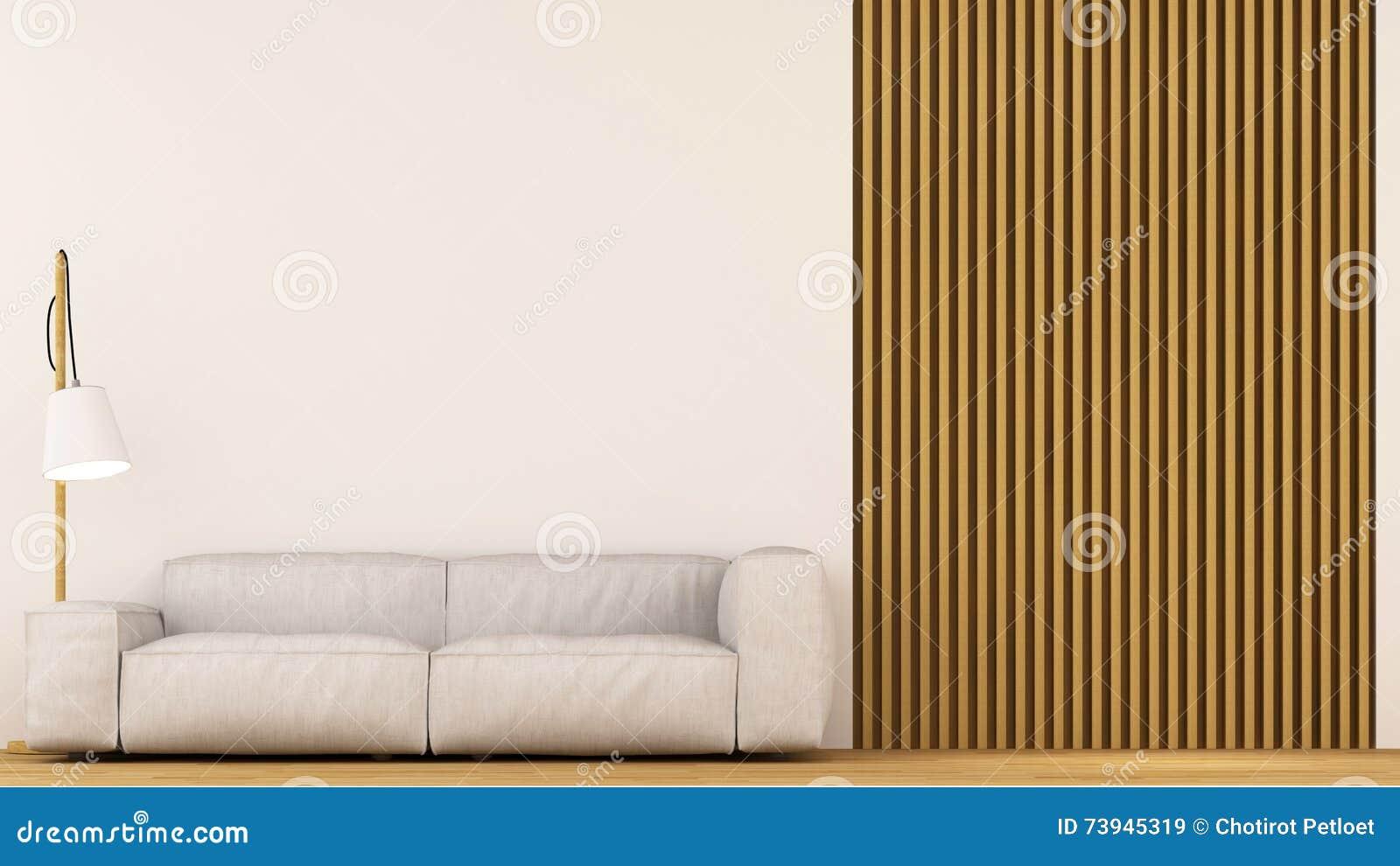 Bank in woonkamer houten decoratie   het 3d teruggeven stock ...