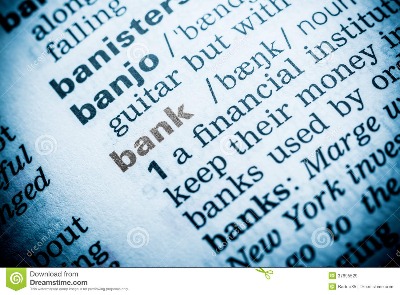 Bank Word Definition Royalty Free Stock Images - Image: 37895529