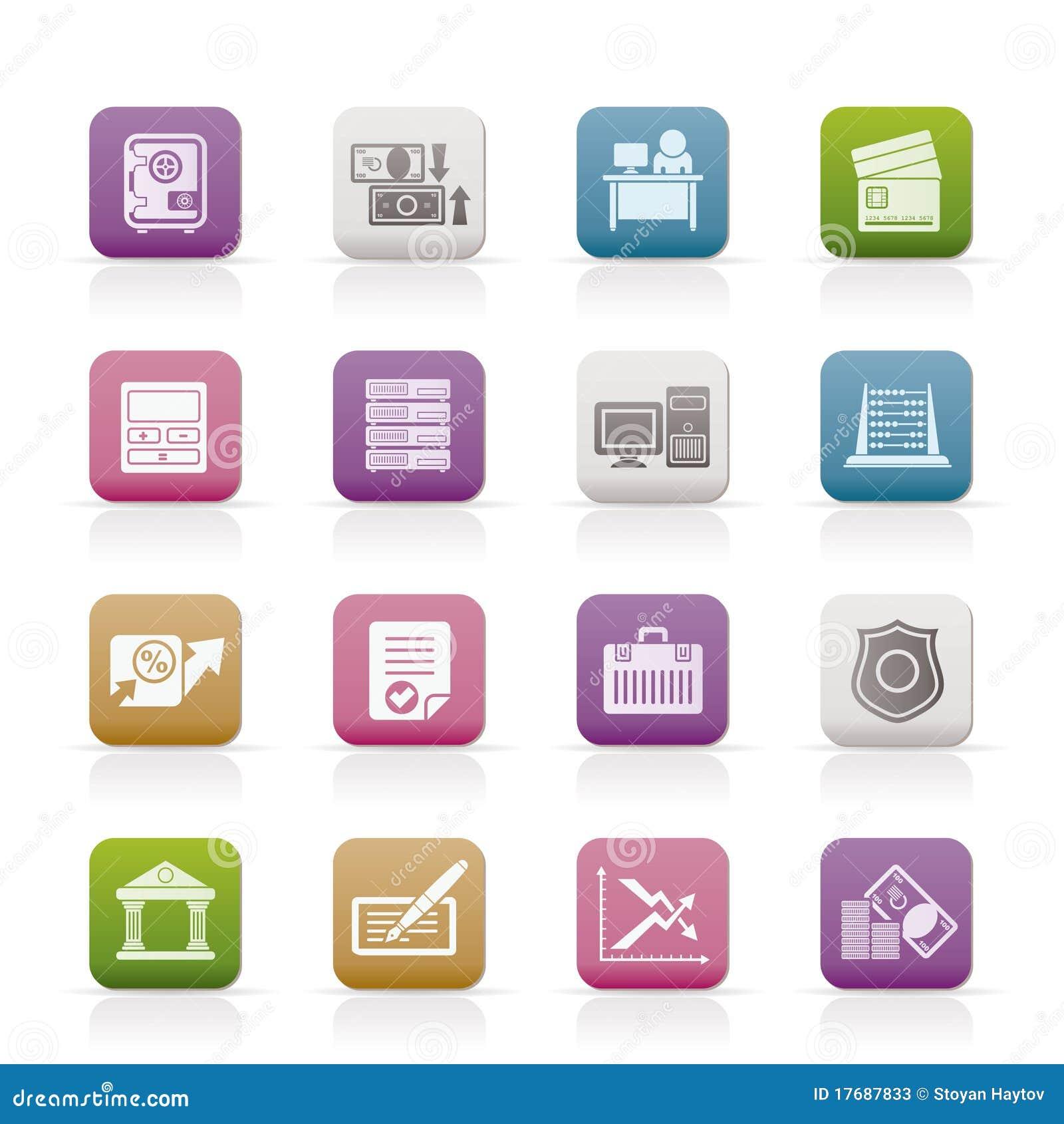 Banka biznesu finanse ikony biurowe
