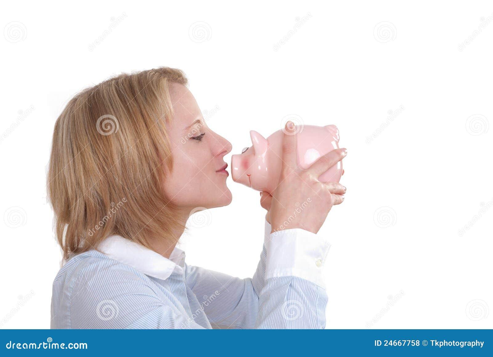 Banka buziaka prosiątka kobieta