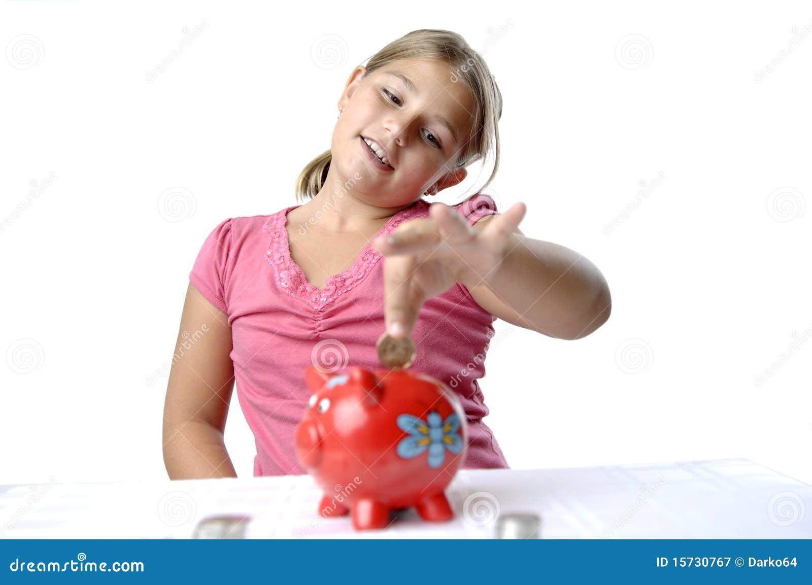 Banka dziewczyny prosiątka szkoła