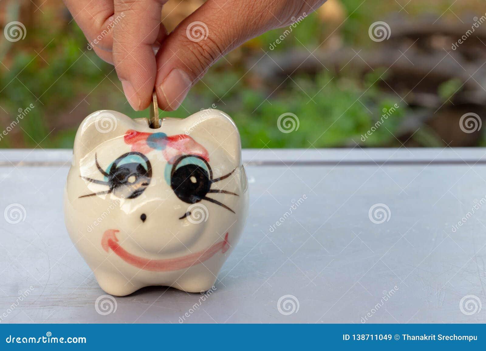 Banka pieniądze prosiątka kładzenia oszczędzanie