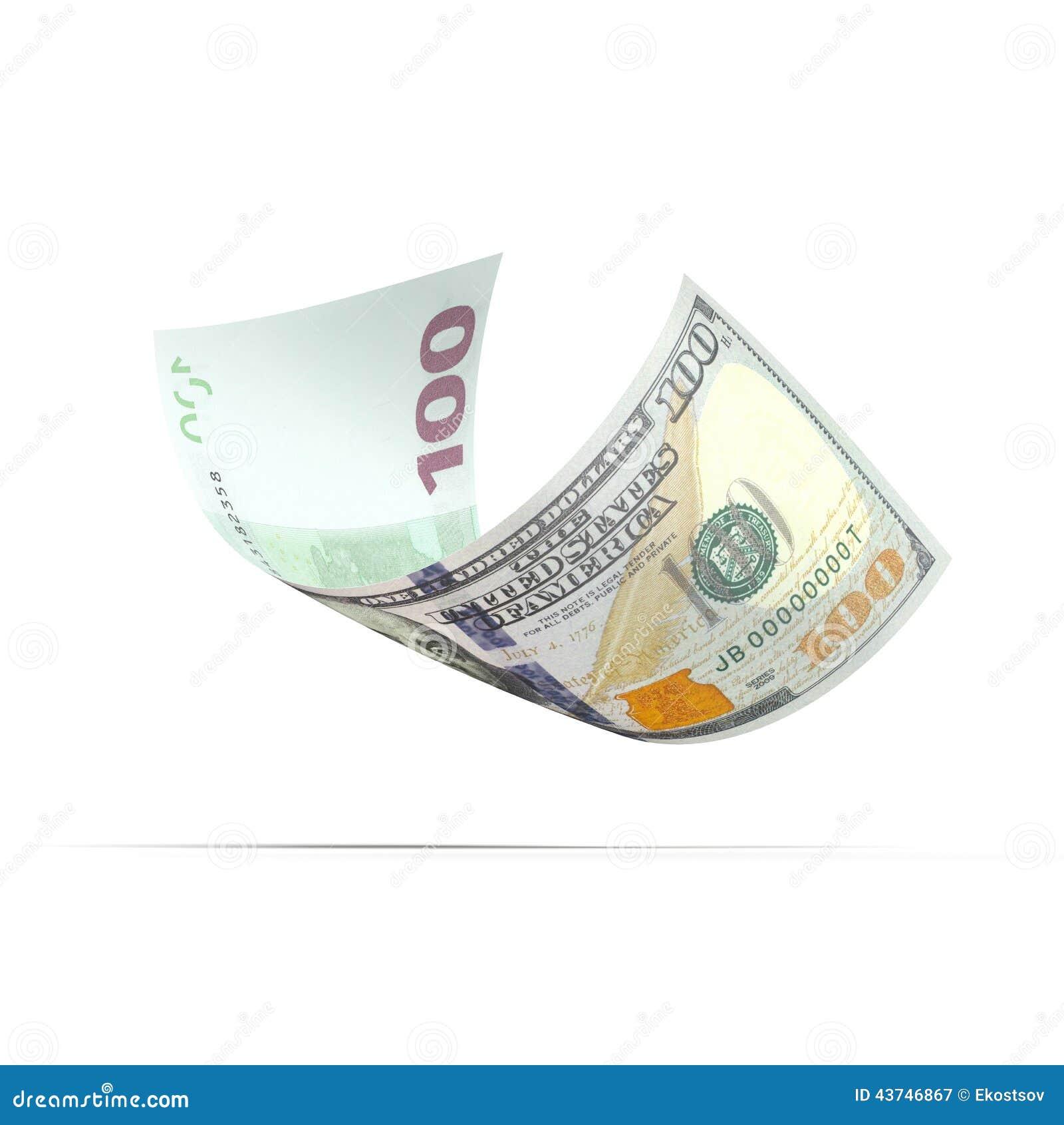 Bankbiljet met dollar en euro aan verschillende kanten