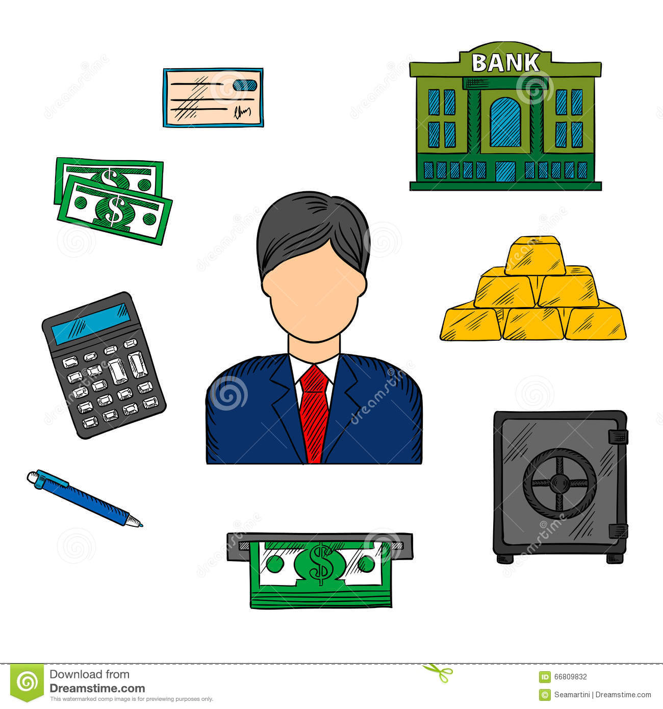 Banker Profession And Financial Icons Stock Vector - Image ...