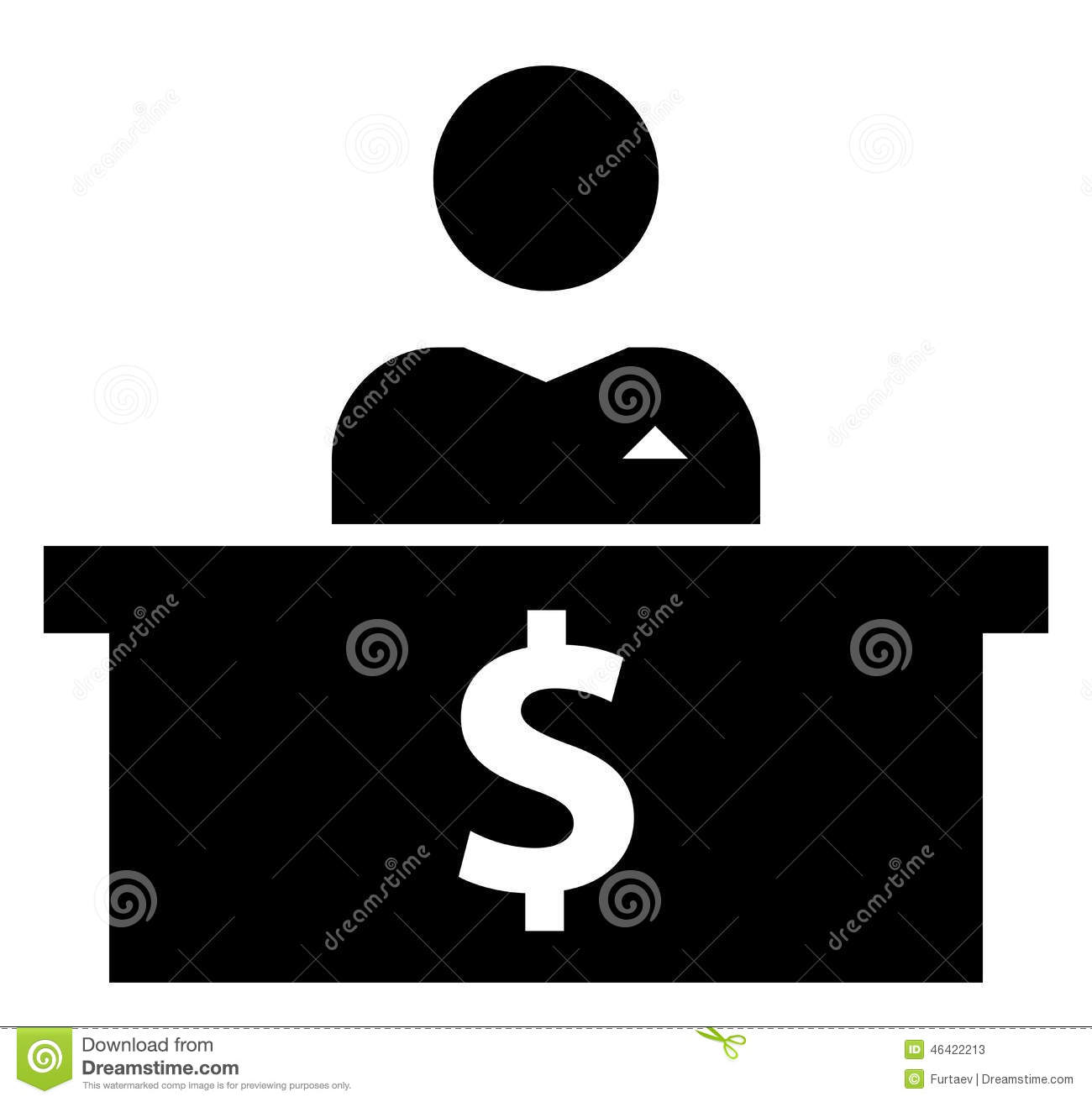 Black vector sign of banker behind counters with dollar symbol.