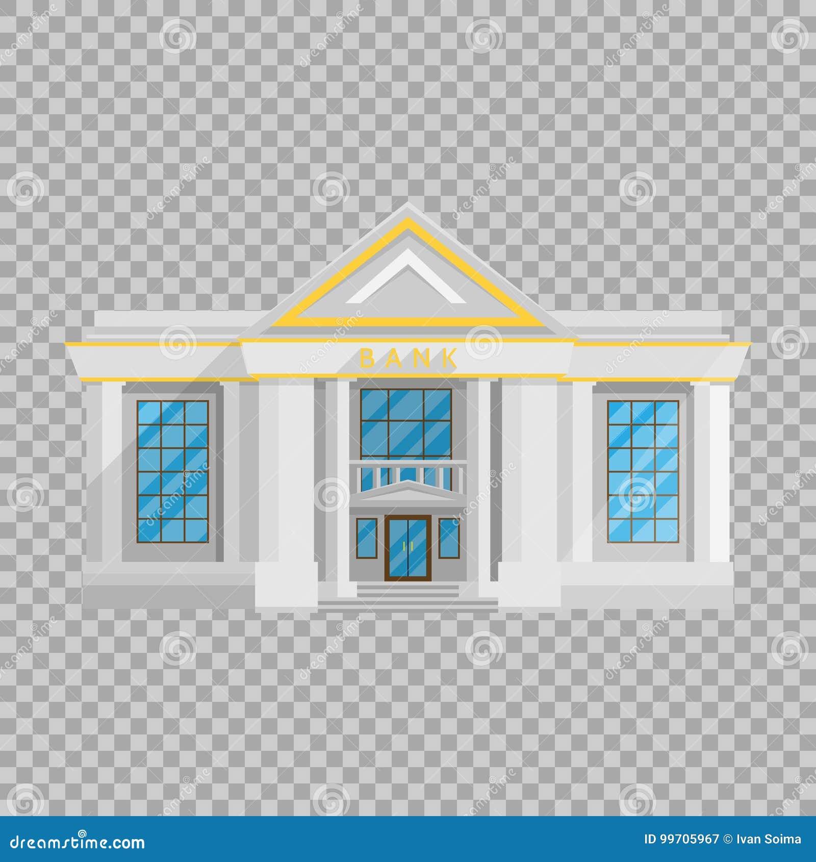 Bankgebäude flach in der Art auf einer transparenten Hintergrundvektorillustration Die Institution, die Geld hält