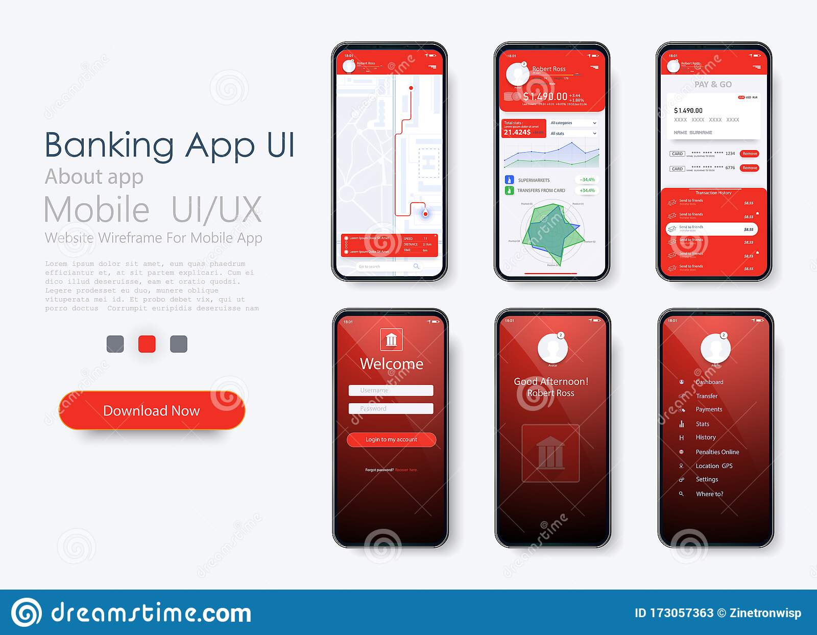 Banking App Ui Ux Kit For Responsive Mobile App Or Website With Different Gui Layout Including Login Login And Stock Vector Illustration Of Login Analytics 173057363