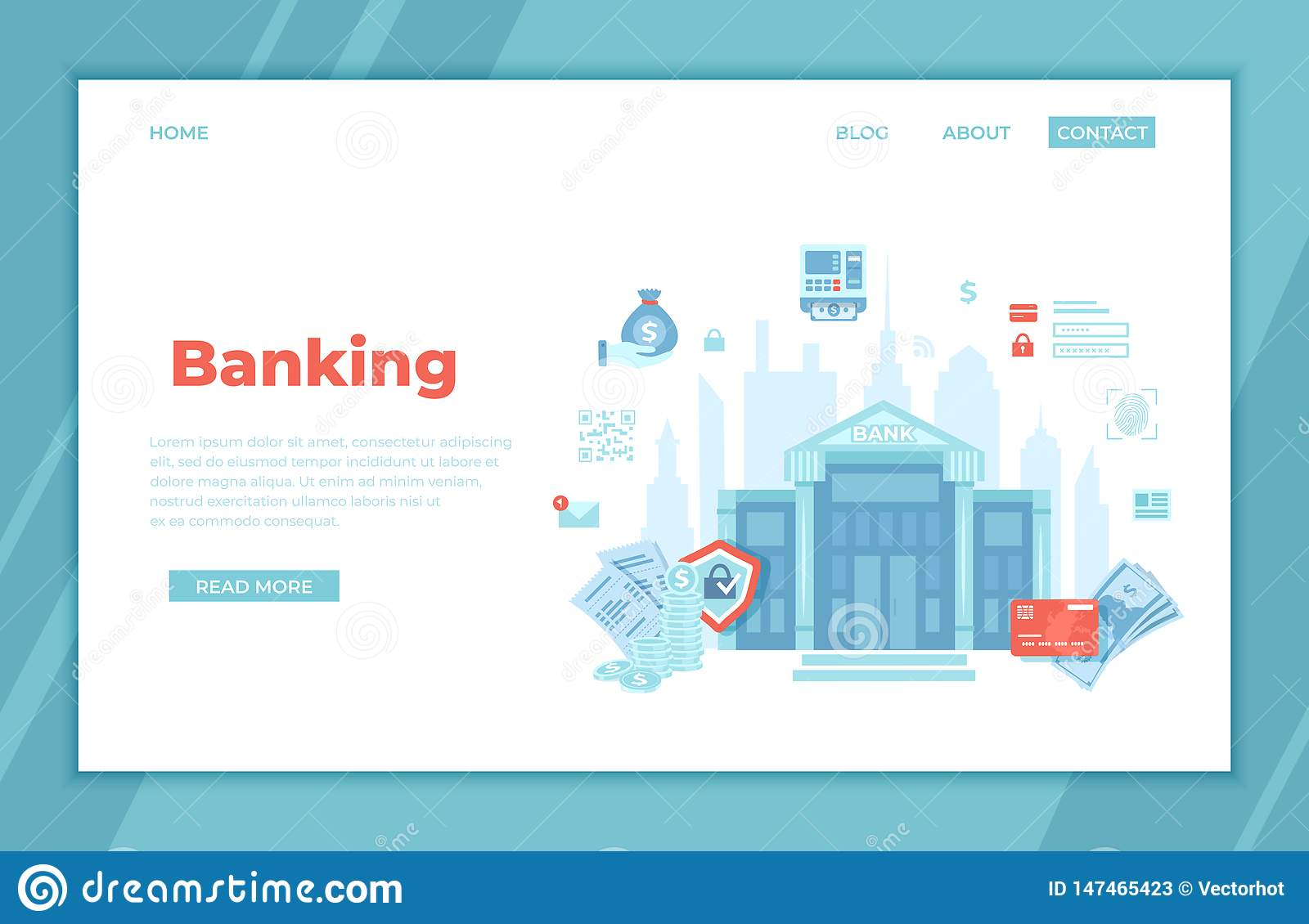 Banking, Bank building, Financial service. Money exchange Transfer Payment Accounts operation. Banknotes, coins, credit card.