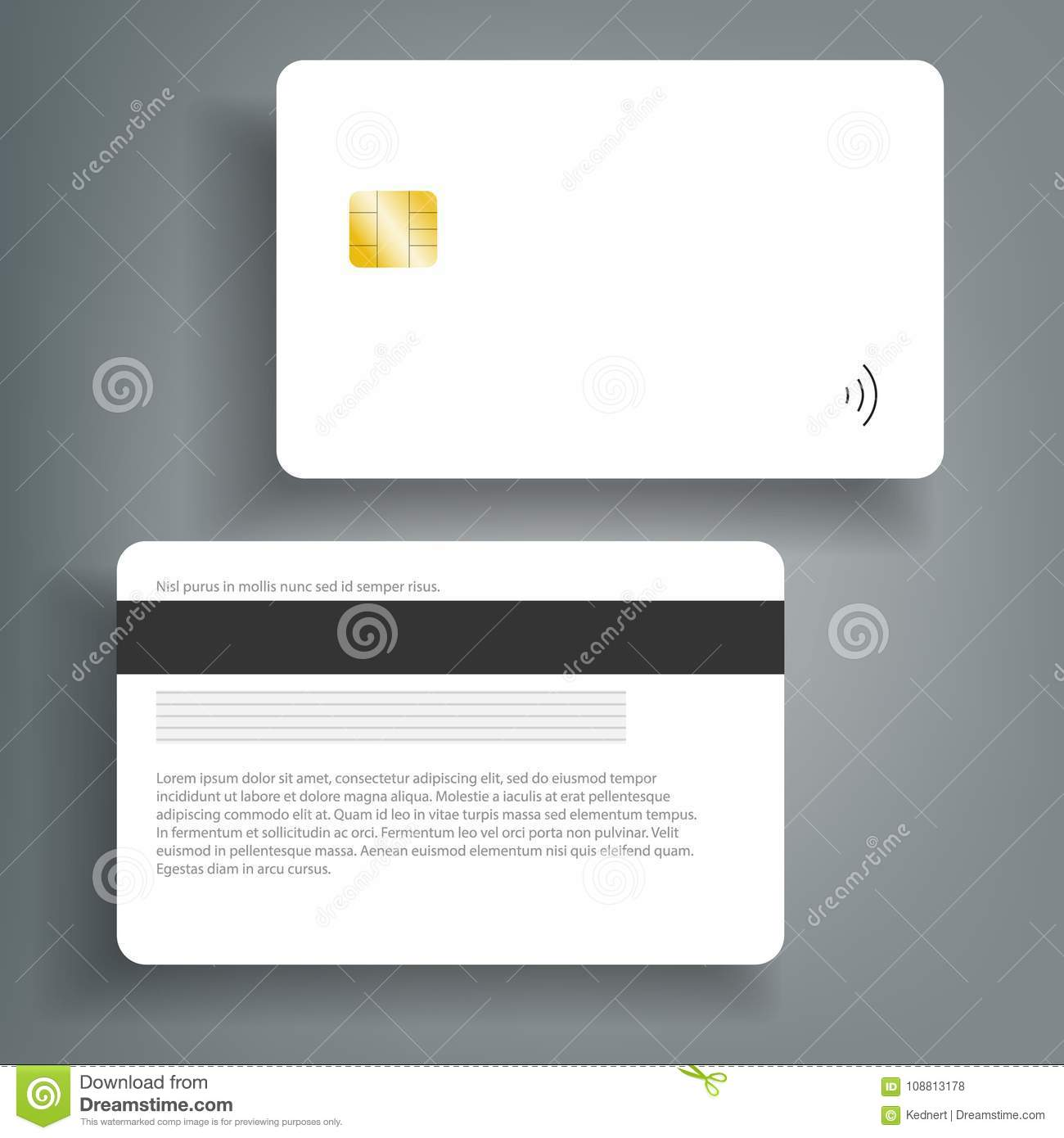 Banking chip credit card realistic mockup. Clear plastic card template.