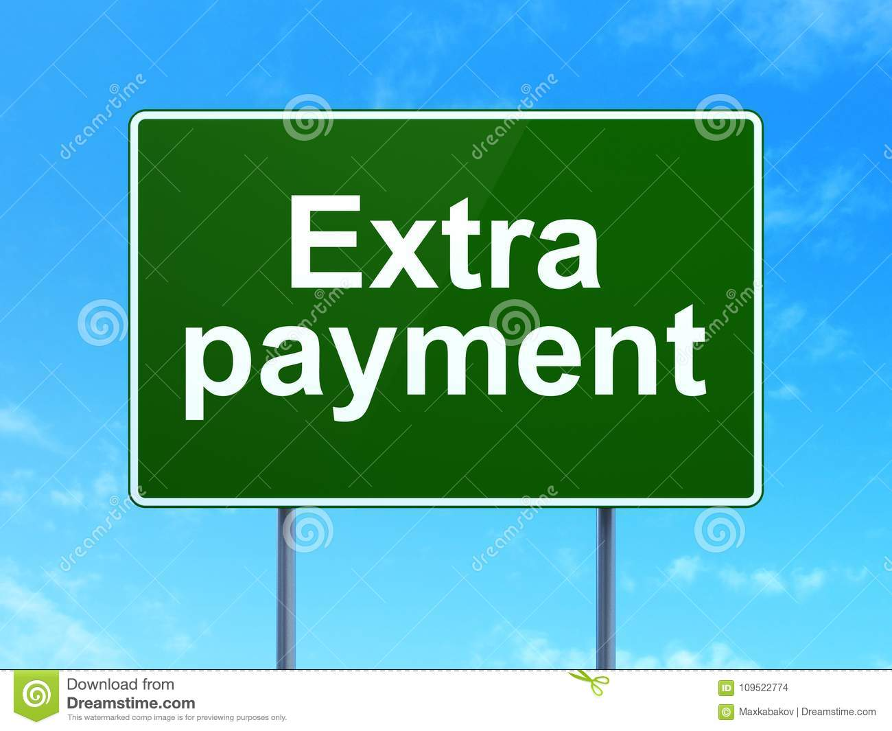 banking concept extra payment on road sign background stock photo