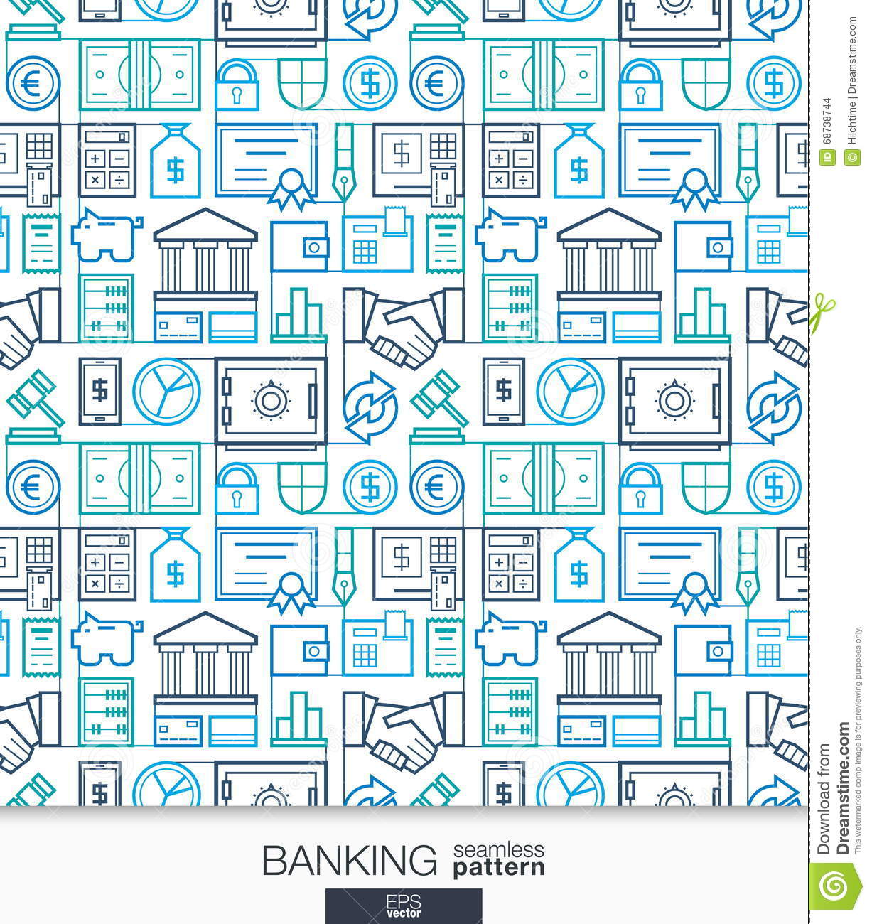 Banking And Finance Wallpaper. Bank Seamless Pattern Stock