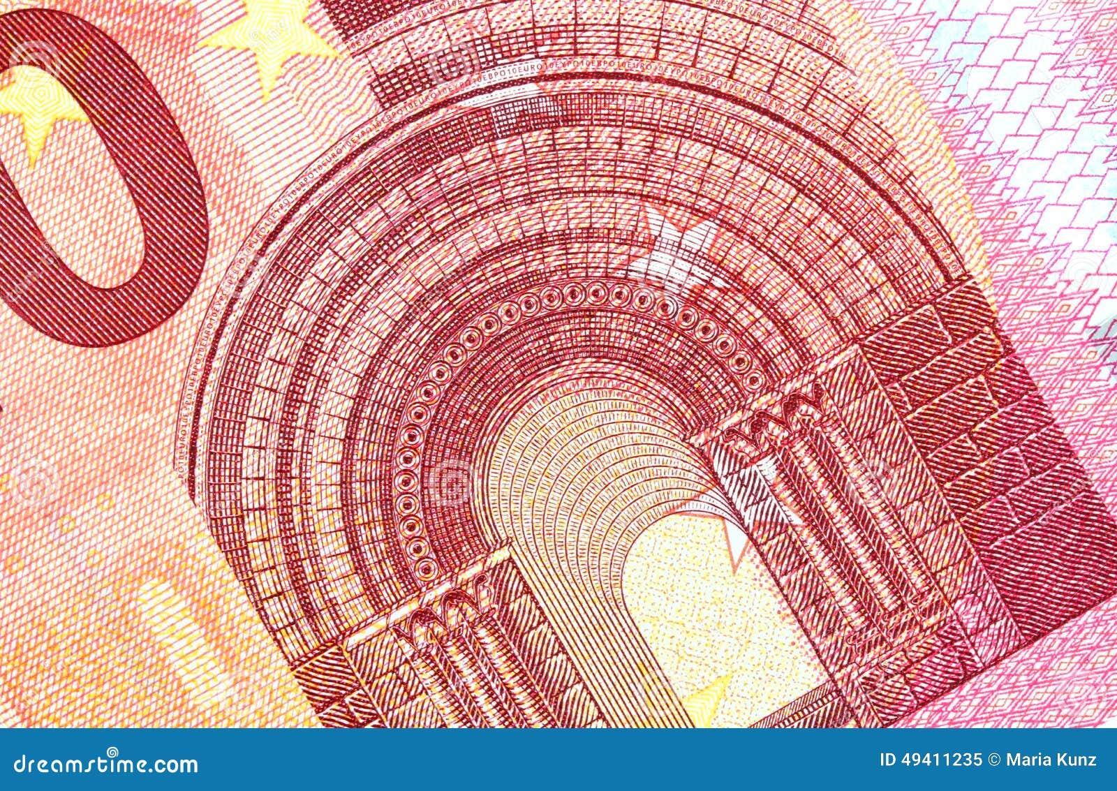 Download Banknote Des Euro-zehn In Einem Makroschuß Stockbild - Bild von abschluß, geld: 49411235