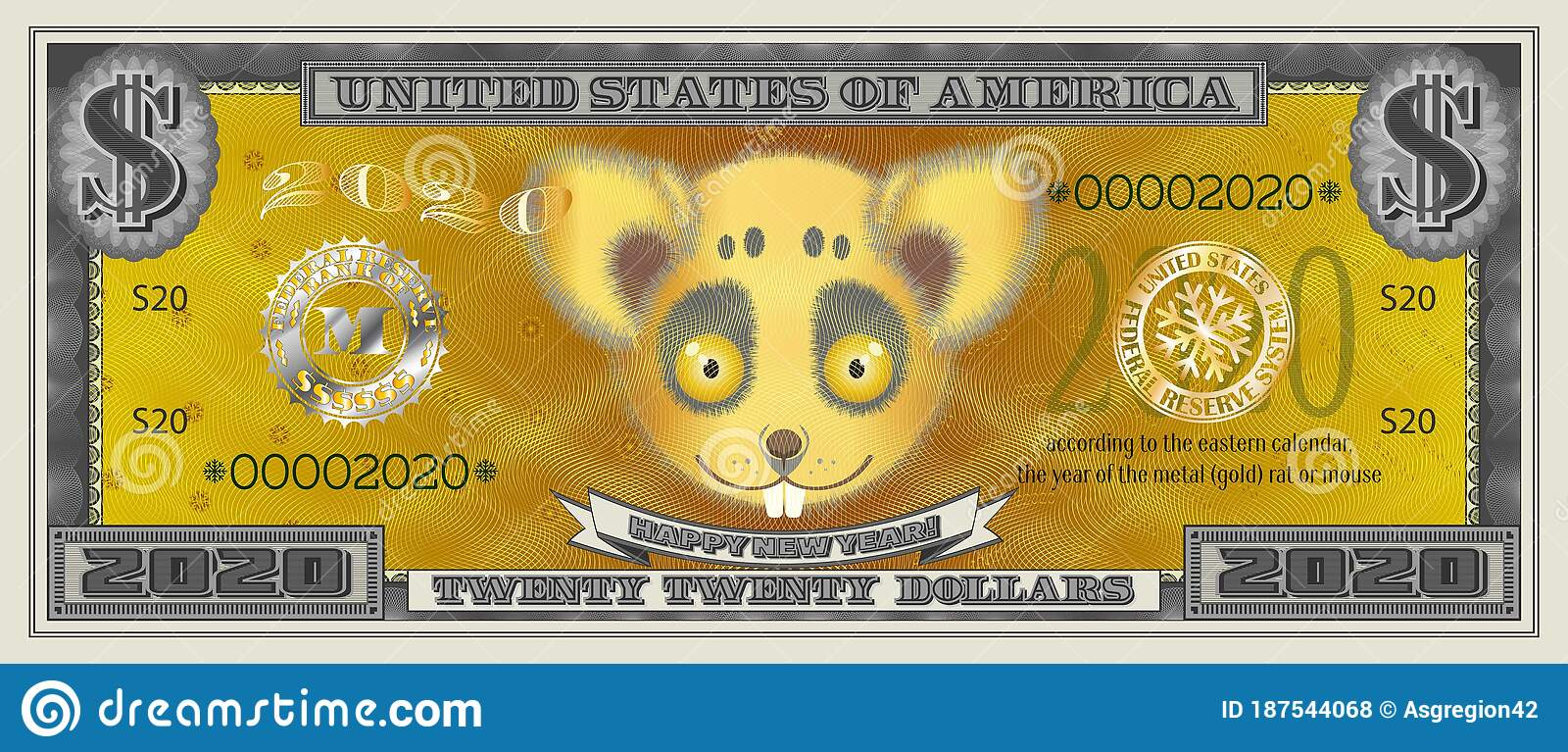 2020 The year of the rat was tested for fluorescent banknotes in paper-cut form