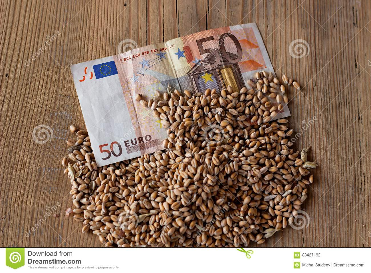 Banknote and wheat