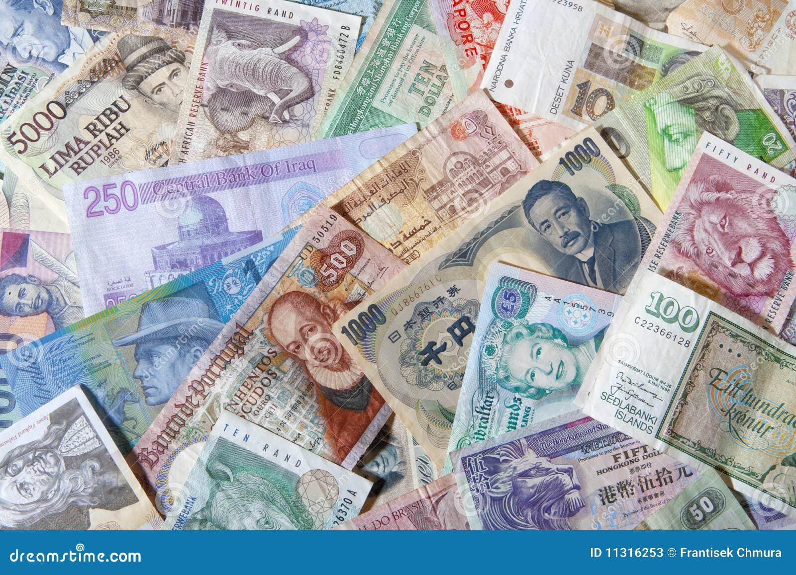 Banknoten der verschiedenen Länder