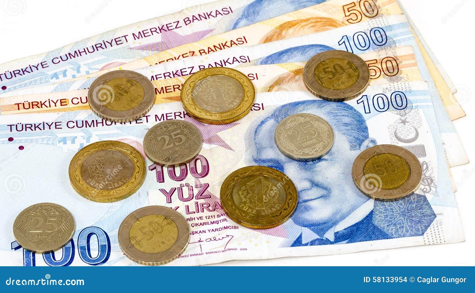 Banknoten Und Münzen Der Türkischen Lira Stockfoto Bild Von Münze