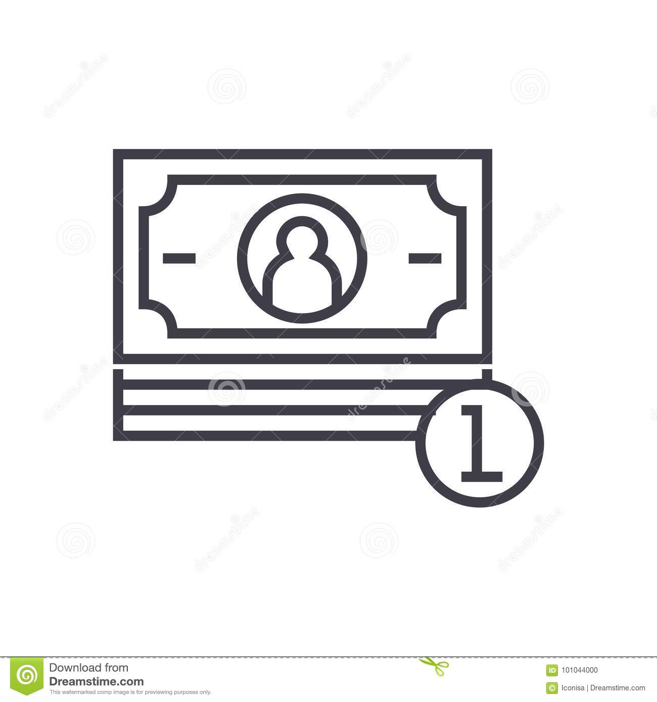 Banknotes Cents Vector Line Icon Sign Illustration On Background