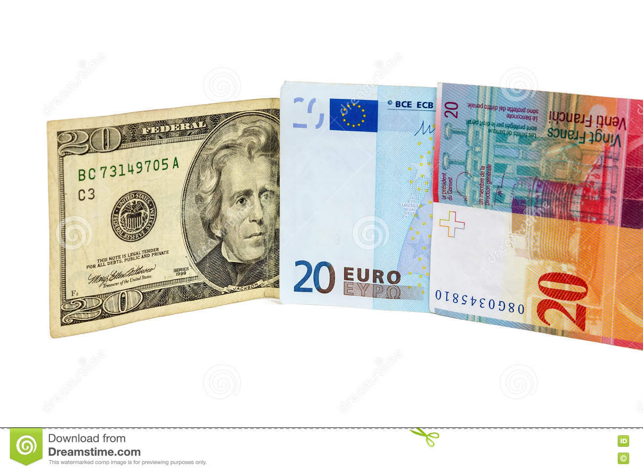 Banknotes Of 20 Dollars Euro And Swiss Franc