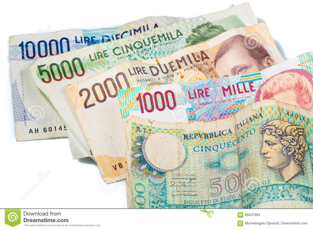 Italian Lira   Pre Euro Currency Money Which Now They Are No Longer In Use