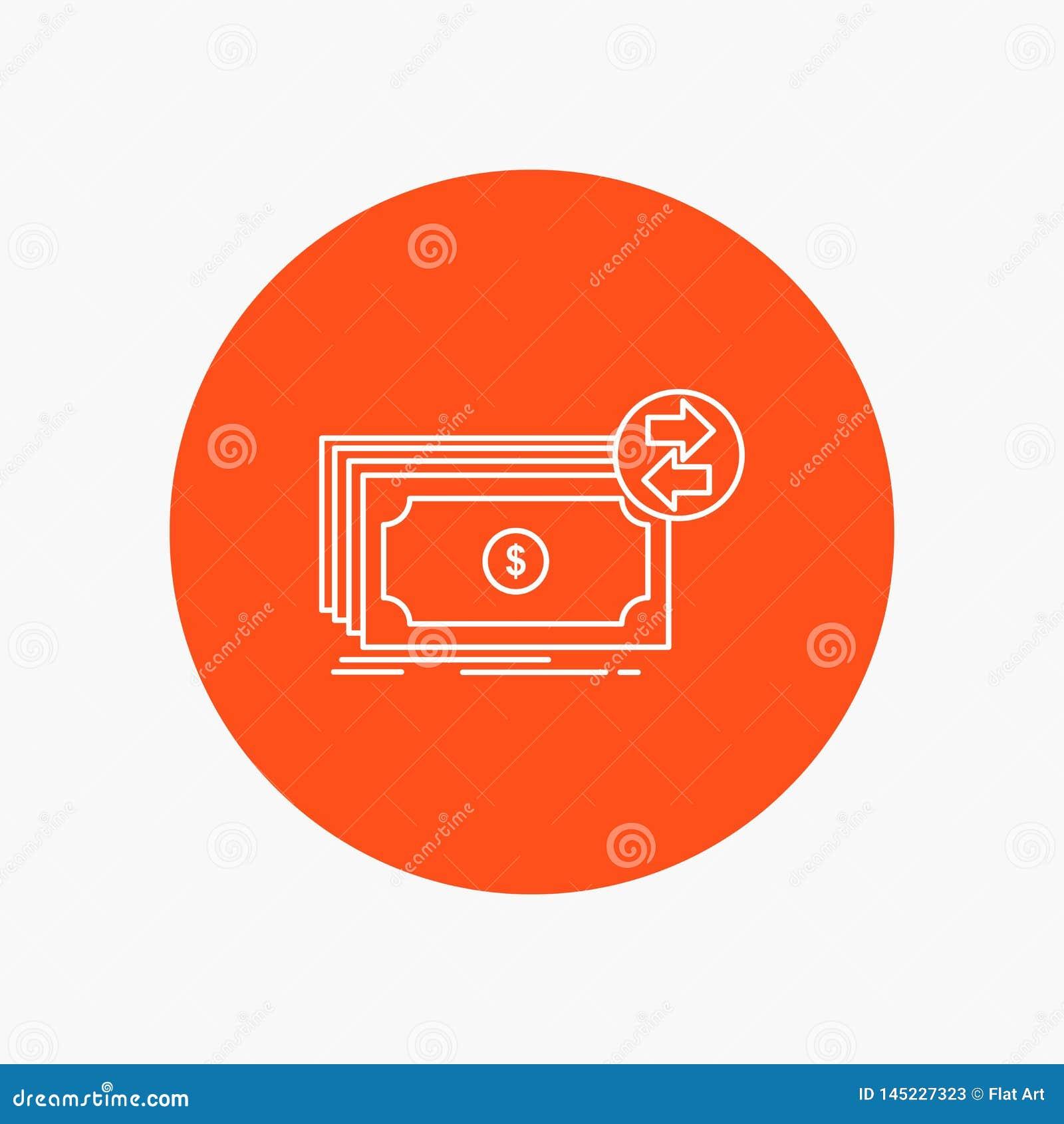 Banknoty, gotówka, dolary, przepływ, pieniądze Białej linii ikona w okręgu tle Wektorowa ikony ilustracja