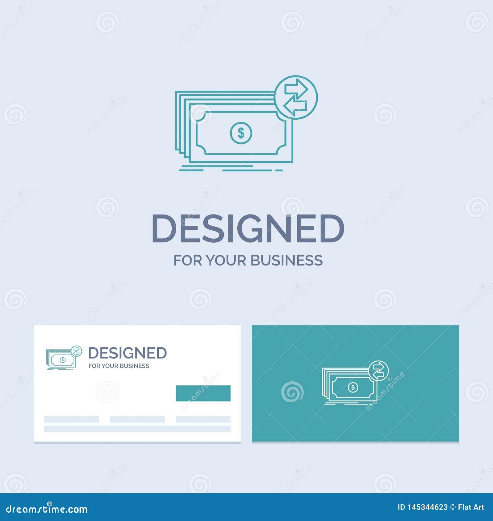 Banknoty, gotówka, dolary, przepływ, pieniądze biznesu logo linii ikony symbol dla twój biznesu Turkusowe wizyt?wki z gatunku log