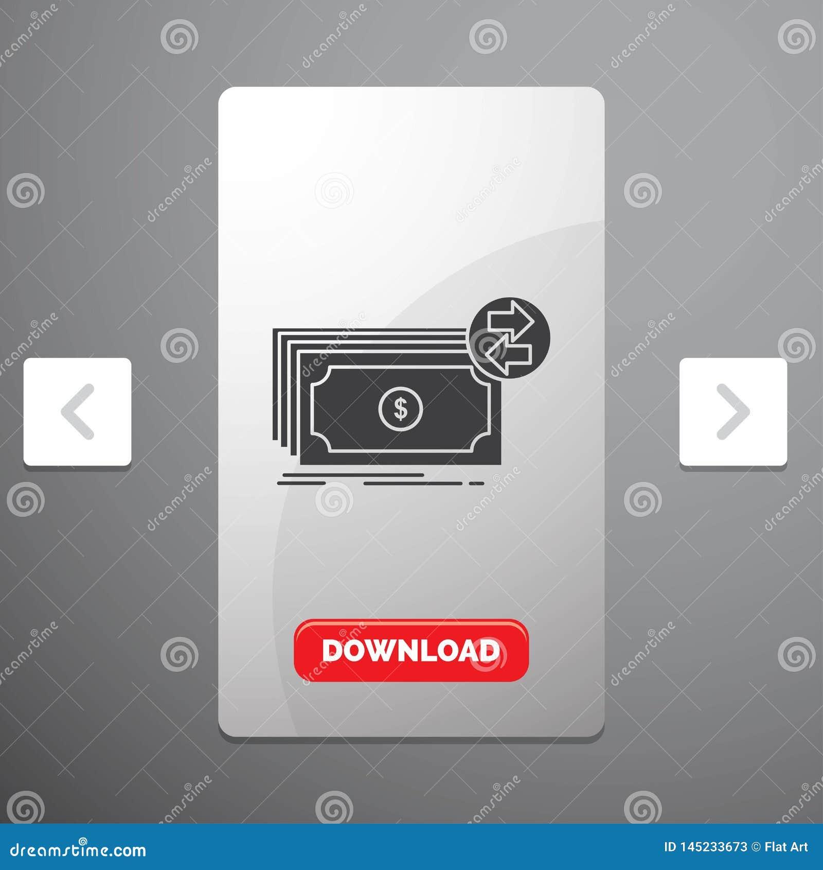 Banknoty, gotówka, dolary, przepływ, pieniądze glifu ikona w biby paginacji suwaka projekcie & Czerwony ściąganie guzik,