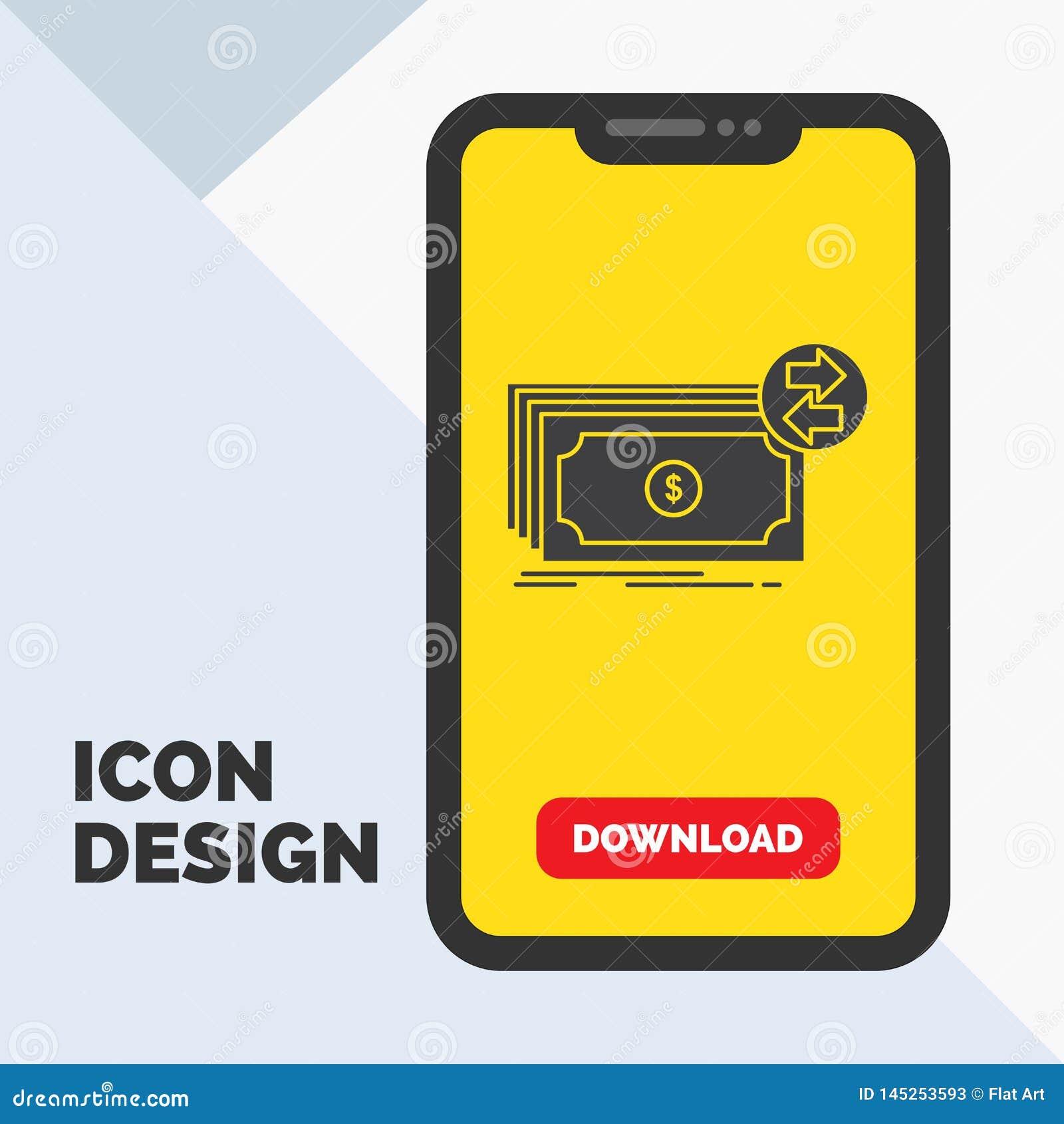 Banknoty, gotówka, dolary, przepływ, pieniądze glifu ikona w wiszącej ozdobie dla ściąganie strony ?