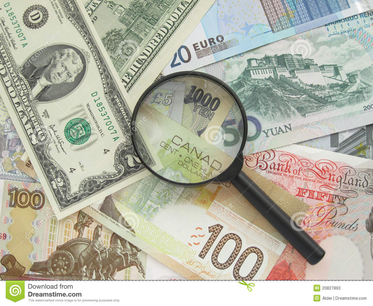 Banknoty i magnifier