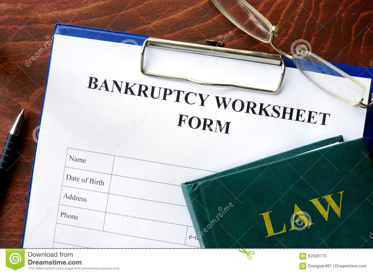 Printables Bankruptcy Worksheet bankruptcy worksheet form stock photo image 62028775 form
