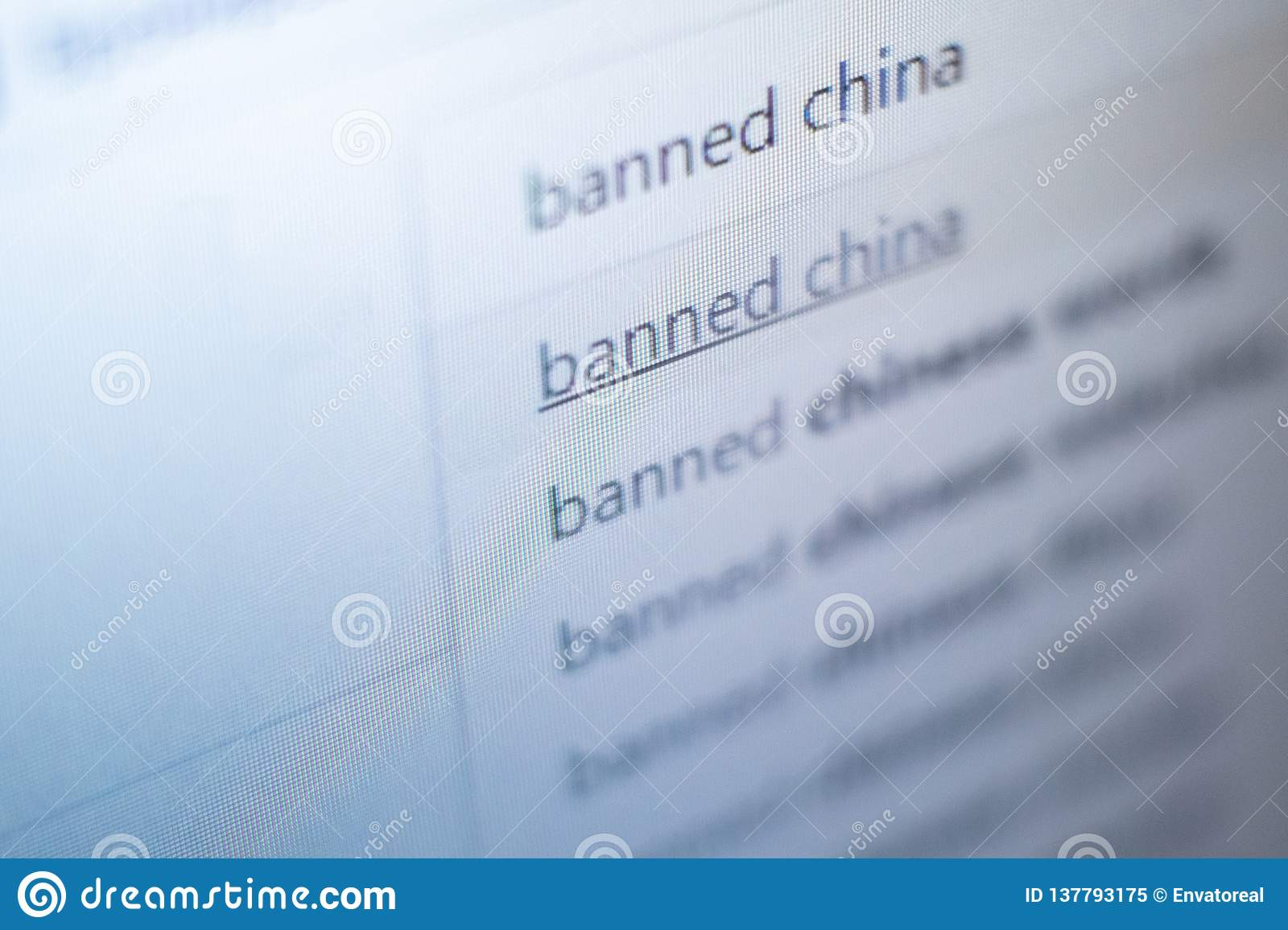 Banned China - the inscription on the monitor screen. Search query on the site. The concept of international sanctions