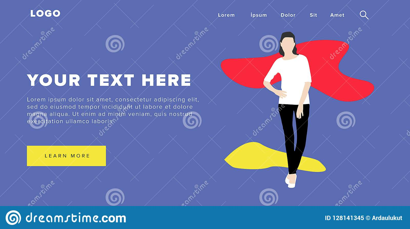 Flat Design Modern Colorful Web Banner and Slider Include Ui Elements With Standing Self-Confidence Woman Silhouette Landing Page