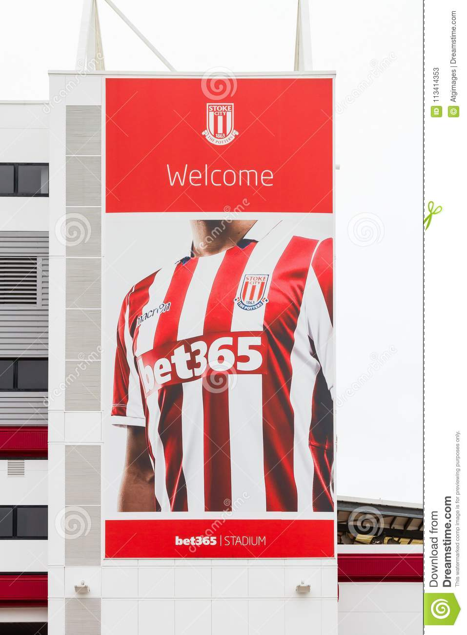 A Banner Adorns The Bet 365 Stadium, Home Of Stoke City