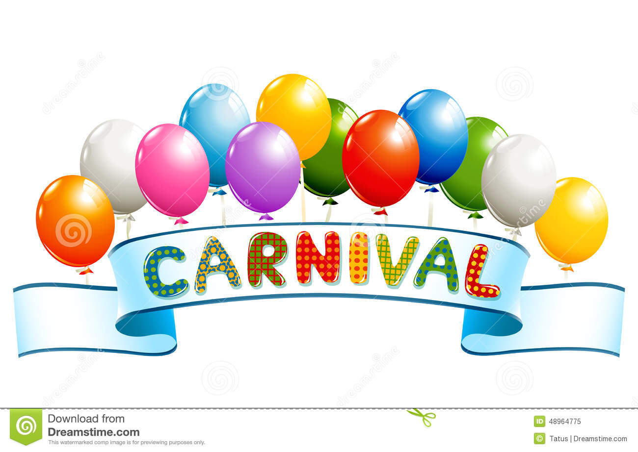 Banner With Balloons And Carnival Word Stock Vector - Image: 48964775