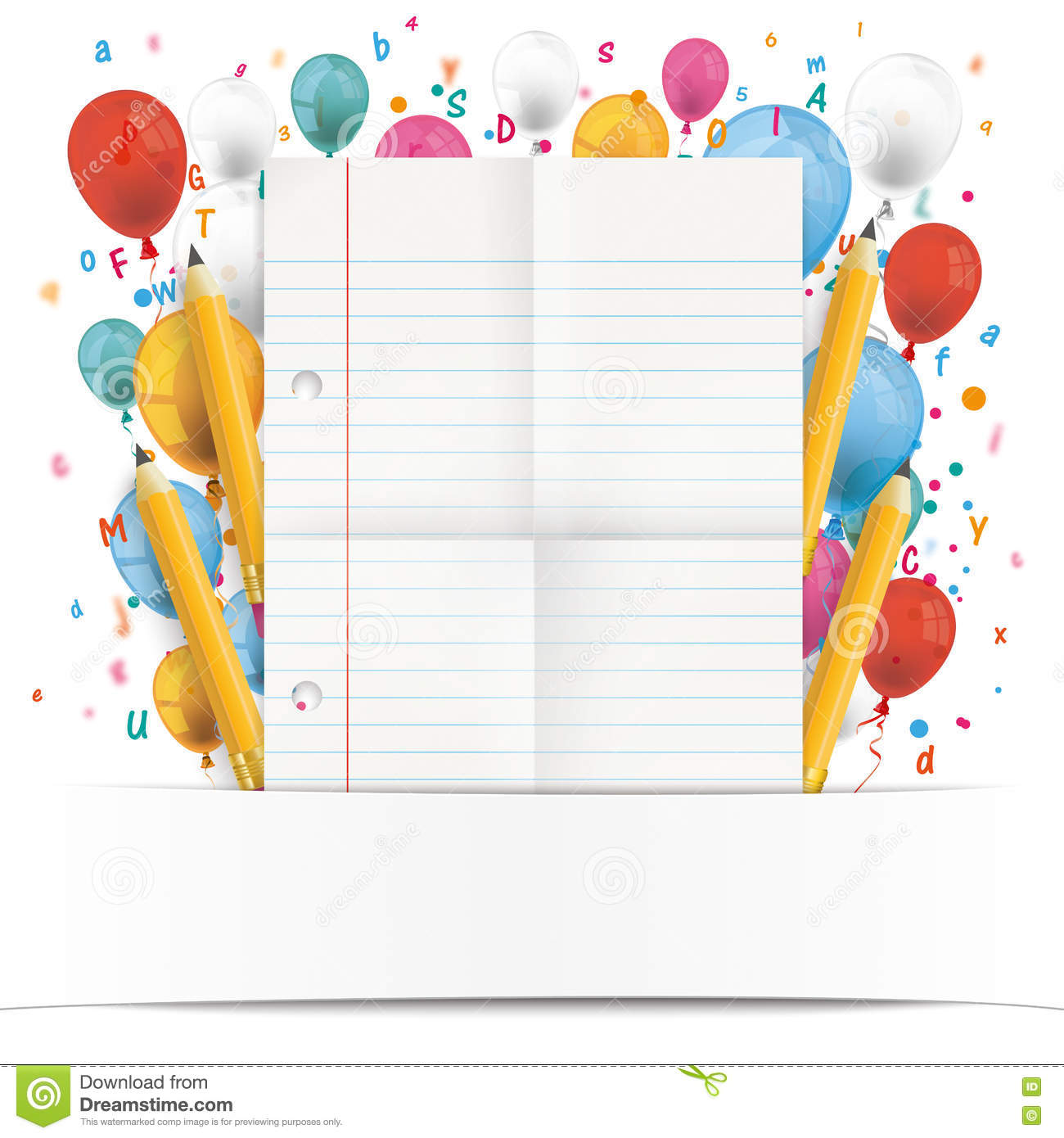 banner balloons letters folded lined paper stock vector