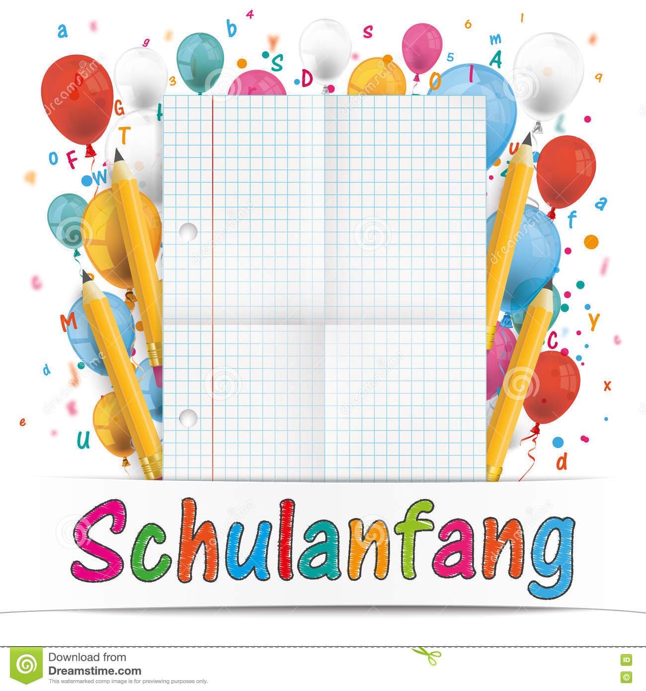 banner balloons letters folded paper schulanfang stock vector