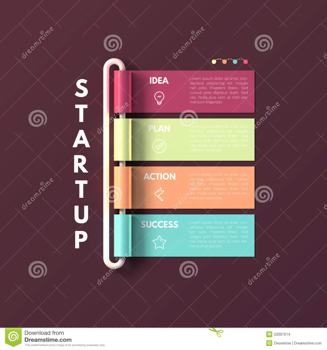 Banner Business Infographic Template Startup Stock Vector - Unique business action plan template concept