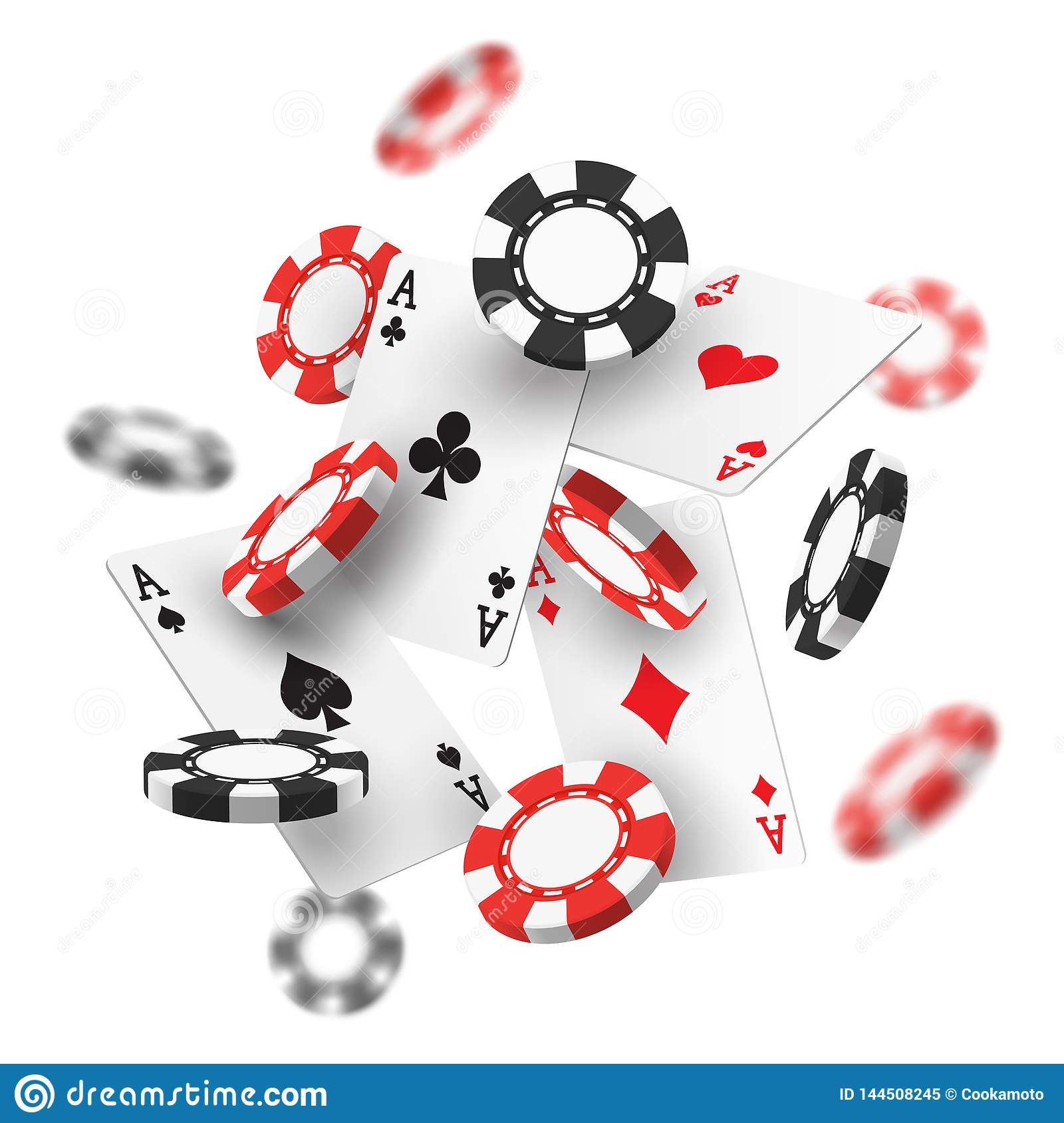 Banner for casino with realistic red, black chips.
