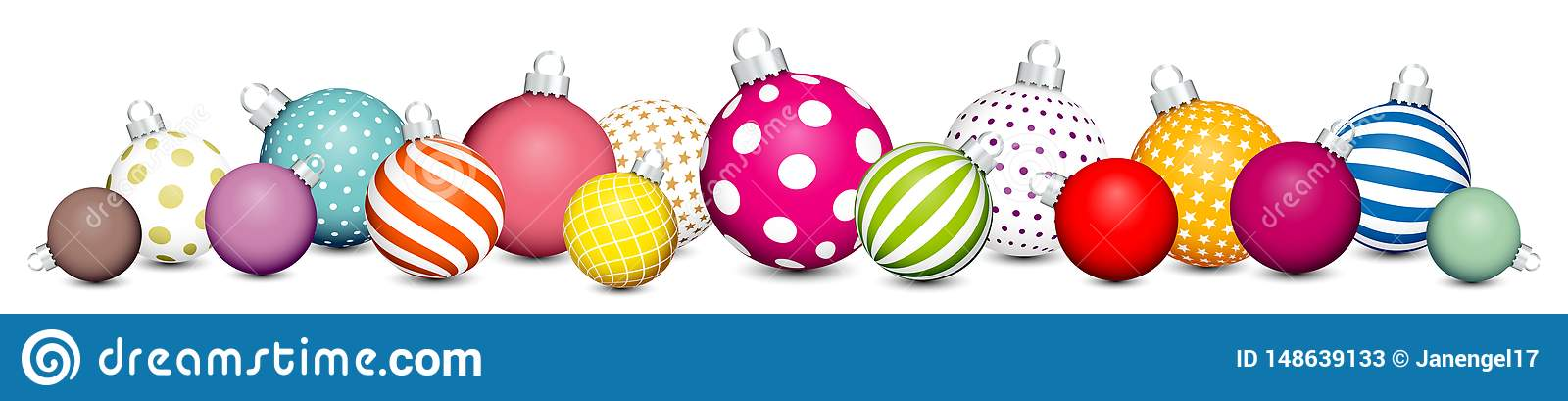 Banner Christmas Balls Pattern Color White Silver