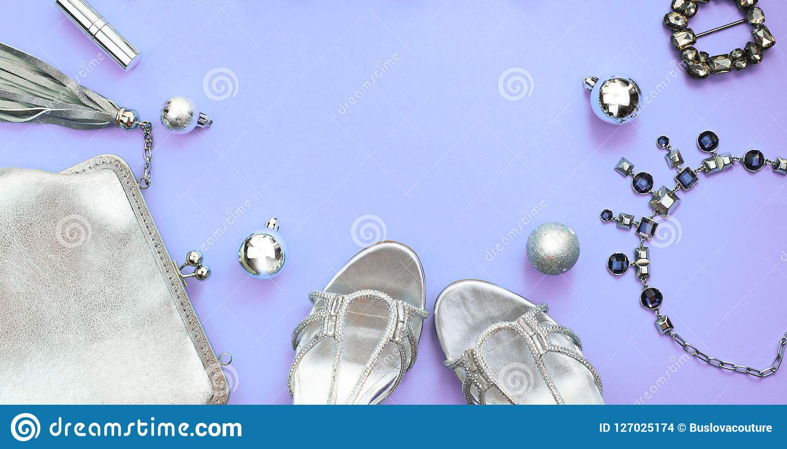Banner Christmas Set Of Fashion Accessories Flat Lay Shoes Handbag Necklace Jewelry Silver Color On Purple Background Top View Cop Stock Photo Image Of Fashion Crystals 127025174