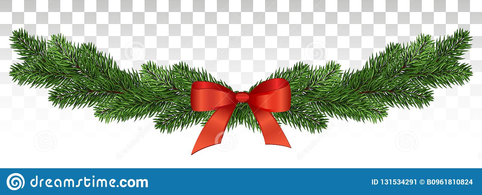 banner with christmas tree garland and ornaments for flyers