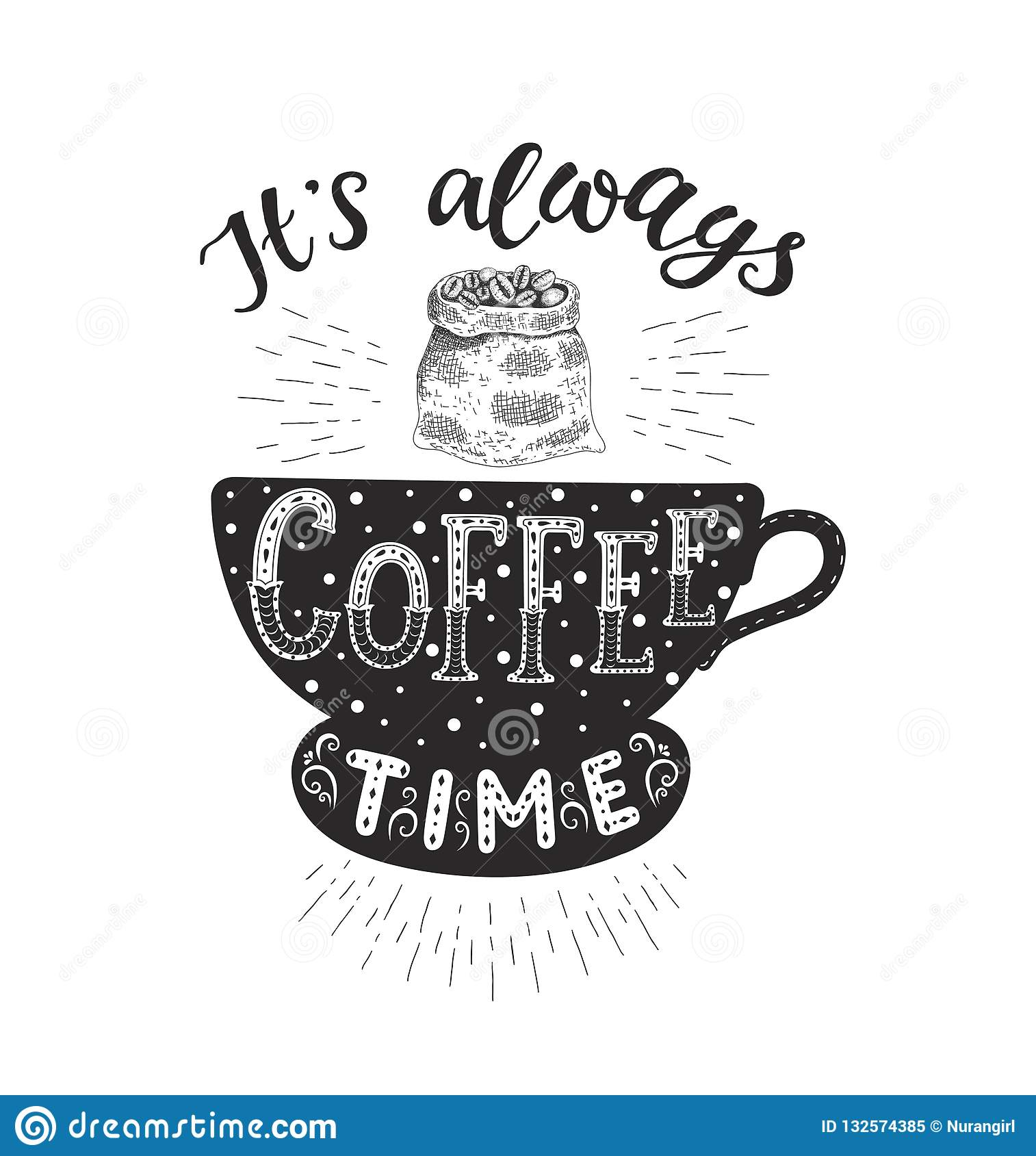 Banner With Coffee Quotes Vector Hand Drawn Lettering Stock