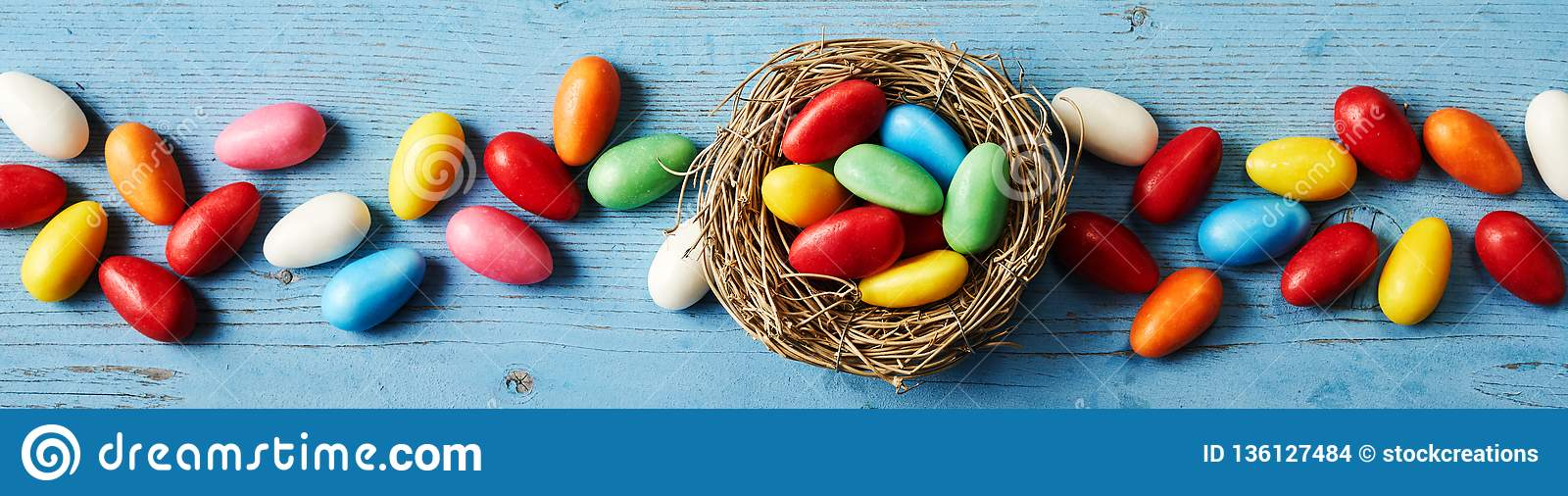 Banner of colorful candies for Easter