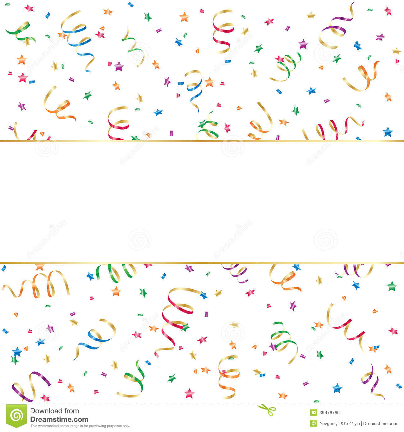 Banner With Confetti And Streamer Stock Vector Image